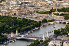 Aerial View on River Seine from the Eiffel Tower, Paris Royalty Free Stock Image