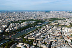 Aerial view on river Seine and Paris Royalty Free Stock Images