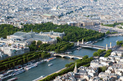 Aerial view on river Seine and Paris Stock Photography