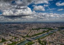 Aerial view of the river Seine at Paris Stock Photography