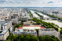 Aerial View on River Seine and Pont de Bir-Hakeim Royalty Free Stock Photos