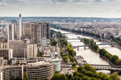 Aerial View on River Seine and Pont de Bir-Hakeim Stock Image