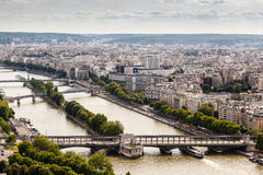 Aerial View on River Seine and Pont de Bir-Hakeim Stock Photos