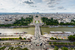 Aerial View on River Seine and Trocadero From the Eiffel Tower Royalty Free Stock Photo