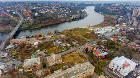 Aerial view of the river Southern Bug. Aerial view of the river Southern Bug in the city of Vinnitsa Royalty Free Stock Image