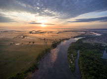 Aerial view of river at sunrise Royalty Free Stock Photo