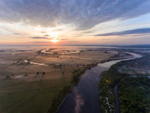 Aerial view of river at sunrise Royalty Free Stock Photography