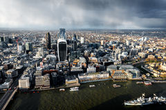 Aerial view of River Thames and The City in London Royalty Free Stock Image