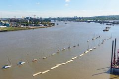 Aerial view of River Thames in eastern London. With Thames Barrier in the background royalty free stock photos