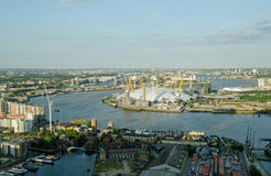 Aerial view of River Thames at Greenwich. View from a tall building of the River Thames bending around North Greenwich with the Millennium Dome in the centre Stock Image