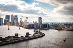Aerial view of River Thames, North Greenwich and the Docklands on a cloudy day in London, England Stock Photography