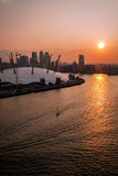 Aerial view of River Thames, North Greenwich and the Docklands at sunnset Stock Photo