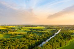 Aerial view of the river warnow stock photo