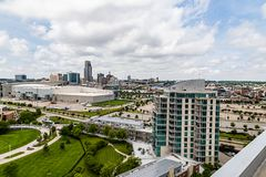 Aerial view of Riverfront place condominium and downtown Omaha Nebraska skyline. royalty free stock image
