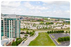 Aerial view of Riverfront place condominium and Omaha convention center and Ameritrade center stock image