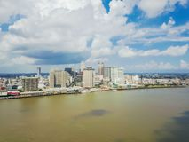 Aerial view riverside downtown New Orleans, Louisiana, USA. Top view Central Business District CBD, a Mississippi neighborhood. Skyscrapers and modern office Royalty Free Stock Photography