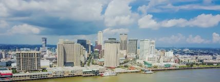 Aerial view riverside downtown New Orleans, Louisiana, USA. Panorama aerial view riverside downtown New Orleans, Louisiana, USA.  Top view Central Business Stock Image