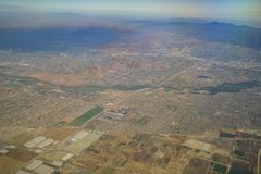 Aerial view of Riverside and Norco, view from window seat in an. Airplane, California, U.S.A Stock Photo