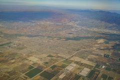 Aerial view of Riverside and Norco, view from window seat in an. Airplane, California, U.S.A Royalty Free Stock Photography
