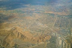 Aerial view of Riverside, view from window seat in an airplane. California, U.S.A Stock Photos