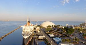 Aerial view of RMS Queen Mary ocean liner, Long Beach, CA Stock Photography