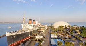 Aerial view of RMS Queen Mary ocean liner, Long Beach, CA.  stock images