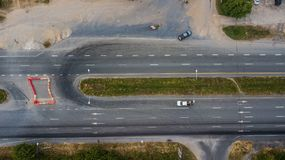 Aerial view of the road Royalty Free Stock Photos