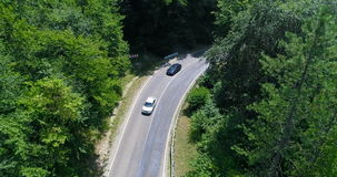 Aerial view road along Of Belaya River Canyon, Adygea stock video