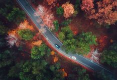 Aerial view of road with blurred car in autumn forest Stock Photography