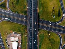Aerial view road car highway junction. Top view stock photos