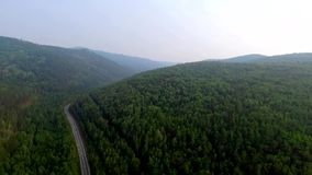 Aerial View Road in the coniferous forest on Lake Baikal, Buryatia, Russia. Bird's-eye view on the drone road in coniferous forest of Lake Baikal Russian stock footage