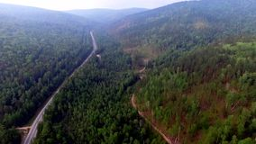 Aerial View Road in the coniferous forest on Lake Baikal, Buryatia, Russia. Bird's-eye view on the drone road in coniferous forest of Lake Baikal Russian stock video