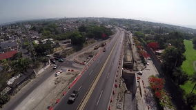 Aerial view of road after construction stock video