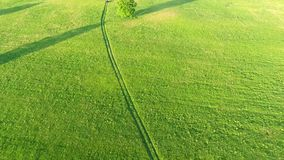 Aerial view of road in the fields stock footage