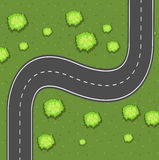 Aerial view of road on the green land Royalty Free Stock Photography