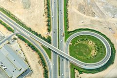 Aerial view of a road interchange in Dubai, UAE royalty free stock photography