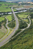 Aerial view of road junction. Beside river Royalty Free Stock Photo