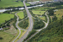 Aerial view of road junction Stock Photo