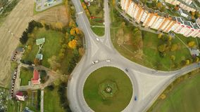 Aerial view road junction of five roads. Aerial of the outskirts of the city of Lida. Residential neighborhood. Belarus stock footage