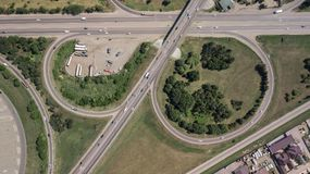 Top down aerial view of transportation highway overpass, ringway, roundabout royalty free stock photo