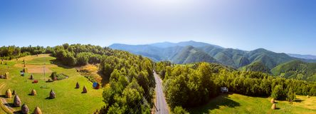 Aerial View of Road the Mountain Stock Images