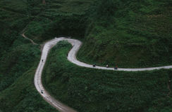 Aerial View of Road in Mountains Royalty Free Stock Image