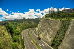 Aerial view of road in the mountains to visit the municipal dump in the city of Quito, Ecuador Royalty Free Stock Photography