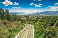 Aerial view of road in the mountains to visit the municipal dump in the city of Quito, Ecuador Royalty Free Stock Images