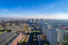 Aerial view on road and residential buildings in Katowice, Royalty Free Stock Images
