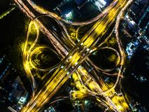 Aerial view Road roundabout with car lots in Thailand.street lar. Ge beautiful downtown at night.cityscape Stock Image