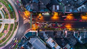 Aerial view Road roundabout, Expressway with car lots in the cit stock photo