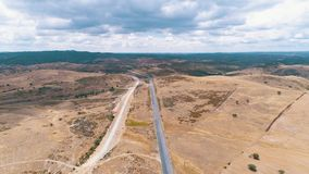 Aerial view road in rural landscape stock video