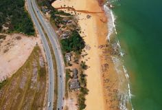 Aerial View of Road Beside the Seashore Royalty Free Stock Photo