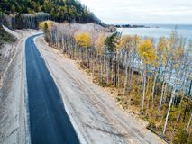 Aerial view road shore Royalty Free Stock Photo